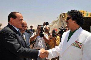 Silvio Berlusconi e il colonnello Gheddafi