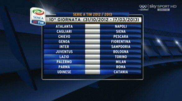 Calendario 10 Giornata Serie A.Calendario Serie A 2012 2013 Decima Giornata Il Pallonaro