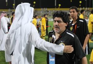 Diego Armando Maradona subito dopo la finale persa della Coppa Campioni del Golfo | ©KARIM SAHIB/AFP/GettyImages