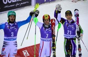 Il podio dello slalom di madonna di campiglio ©OLIVIER MORIN/AFP/Getty Images