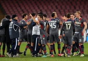 La festa del Bologna al termine del match vinto al San Paolo contro il Napoli | ©Giuseppe Bellini/Getty Images