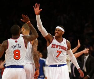 Carmelo Anthony con 45 punti non basta a New York per superare i Blaizers | ©Elsa/Getty Images