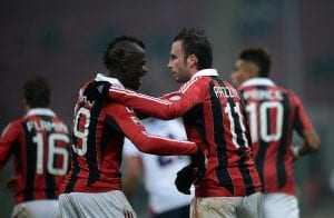 Giampaolo Pazzini e Niang ancora insieme | ©FILIPPO MONTEFORTE/AFP/Getty Images