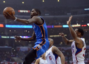 Kevin Durant allo Staples Center contro i Clippers | ©Harry How/Getty Images