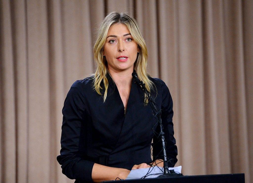 Maria Sharapova alla conferenza stampa relativa al test anti-doping