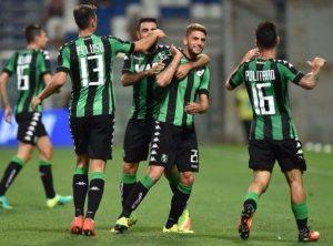 I giocatori del Sassuolo esultano dopo la rete di Berardi | Foto Twitter