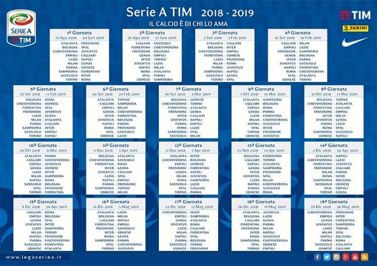 Calendario Juve.Calendario Serie A 2018 19 Riparte La Corsa Alla Juve Il